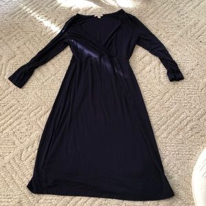 Navy faux wrap maternity dress
